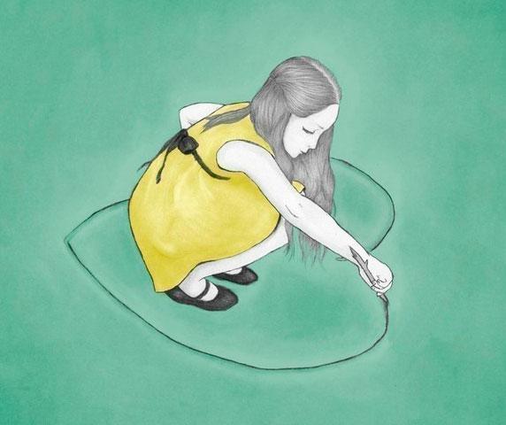 Ilustración de una niña dibujando un corazón que la rodea
