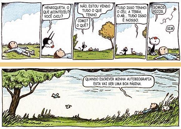 Enriqueta e Fellini, quadrinhos do cartunista Liniers.