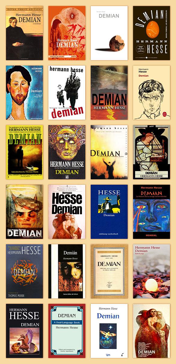 Capas de diferentes edições do Demian, de Hermann Hesse