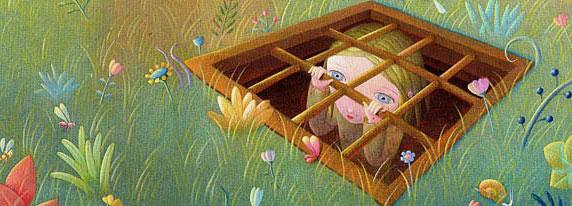 Ilustração de uma menina trancada (Título: Prigionieri on; Autor: Nicoletta Ceccoli)