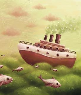 Dessin naïf d'un bateau traversant l'océan (Titre: A sea..., Auteur: Pete Revonkorpi)