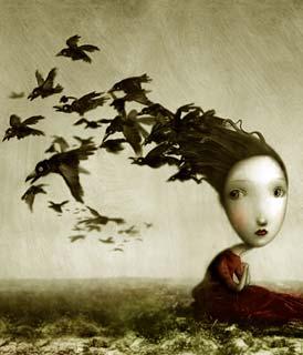 Disegno di una ragazza malinconica con gli uccelli (Titolo: Crows, Autore: Nicoletta Ceccoli)