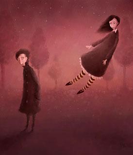 Ilustração de um homem e de uma mulher separando-se (Título: Once Upon an Autumn Night, Autor: Pete Revonkorpi)