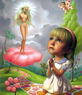 Uma menina triste, rezando diante de uma boneca Barbie (Título: Saint Barbie, Autor: Mark Ryden)