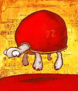 Desenho de uma tartaruga levitando (Título: Slow floaters, Autor: Johan Potma)