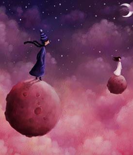 Desenho de um homem e de uma mulher distanciados, em mundos diferentes (Título: Together, Autor: Pete Revonkorpi)