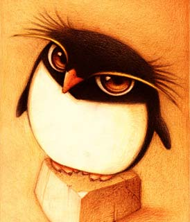 Dessin d'un pingouin au regard intimidant (Titre: Un pingüino, Auteur: Fabo)