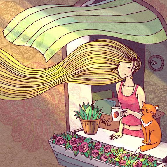 Une jeune femme en dégustant un café avec son chat