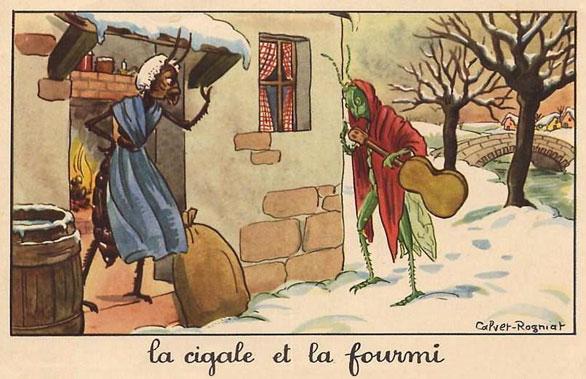 Ilustración de la fábula 'La cigarra y la hormiga' (Autor: Calvet-Rogniat)