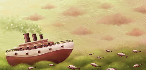 Desenho de um barco cruzando o oceano (Título: A sea..., Autor: Pete Revonkorpi)