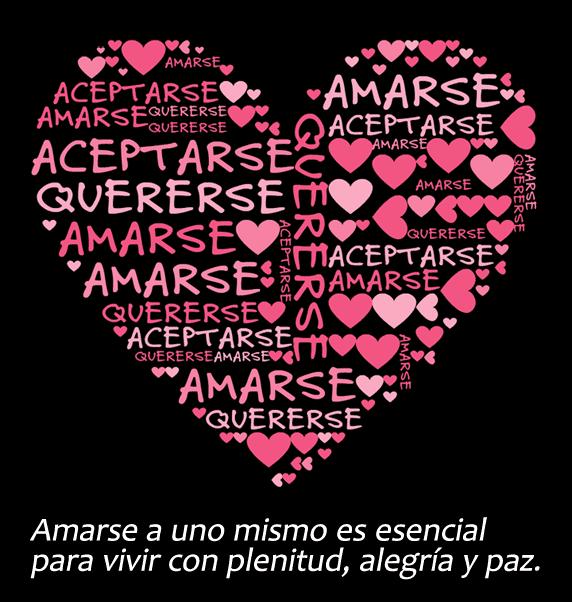 Un corazón que dice 'Amarse, aceptarse, quererse'