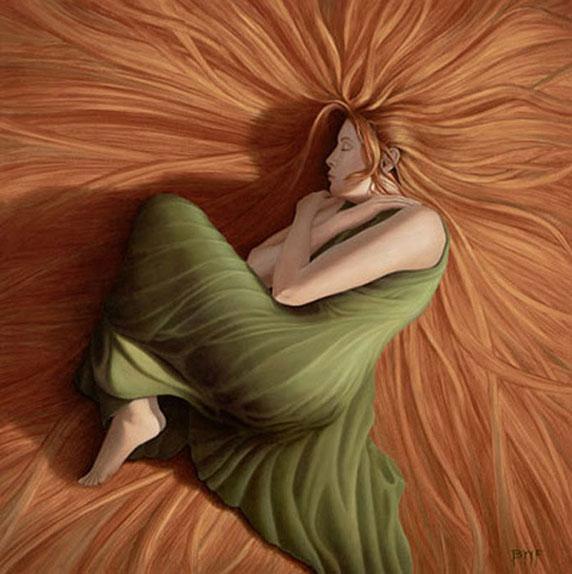 Una mujer durmiendo, tal vez soñando (Big Hair, by Blake Flynn)