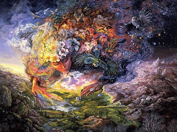 Ilustração da deusa Gaia, dando vida à Terra (Título: Breath of Gaia, Autor: Josephine Wall)