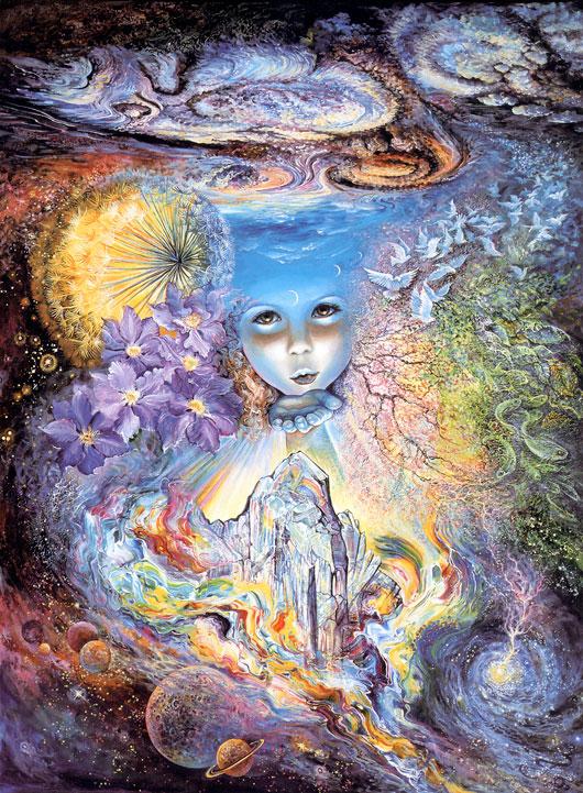 Ilustración de una niña enviando un beso a través del tiempo y el espacio (Título: Child of the Universe, Autor: Josephine Wall)