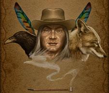 Ilustração sobre a obra de Carlos Castaneda (Thumbnail). Título: Don Juan Matus; Autor: Martín de Diego Sádaba