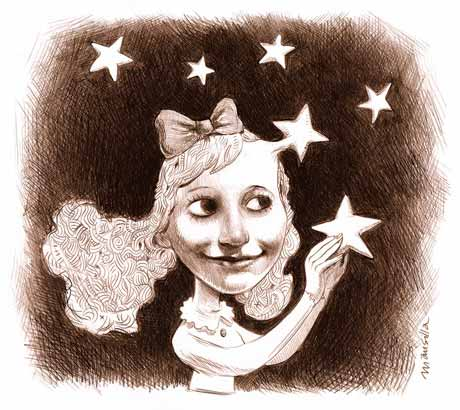 Dessin d'une jeune fille entourée d'étoiles