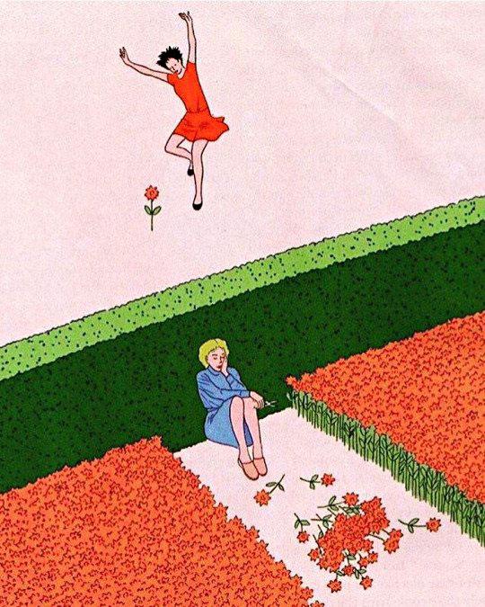 Dos mujeres, una feliz y otra triste.
