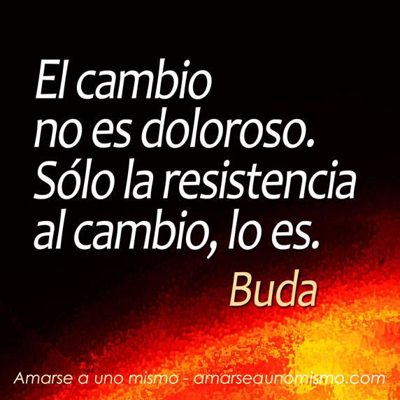 El cambio no es doloroso. Sólo la resistencia al cambio, lo es. (Buda)