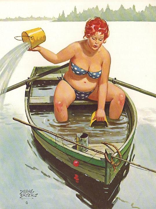 Hilda en un bote que hace agua (autor: Duane Bryers)