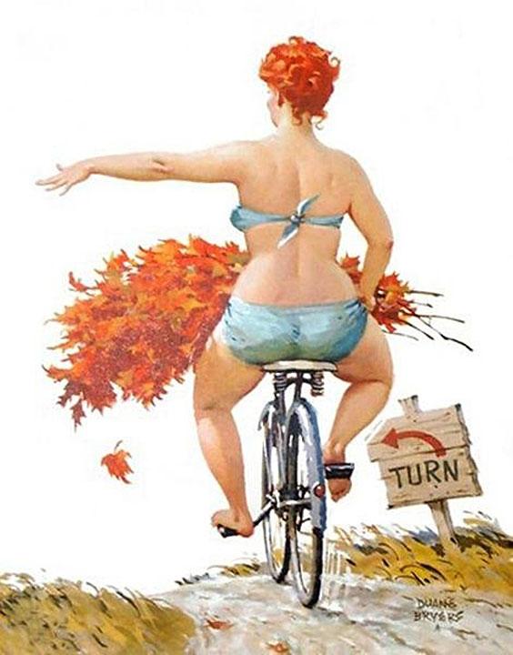Hilda andando in bicicletta (autore: Duane Bryers)