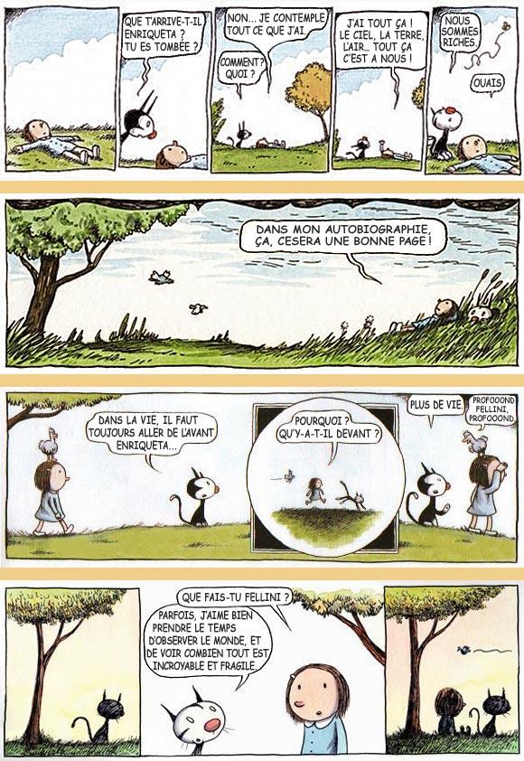 bandes dessinées de Enriqueta et Fellini, par Liniers