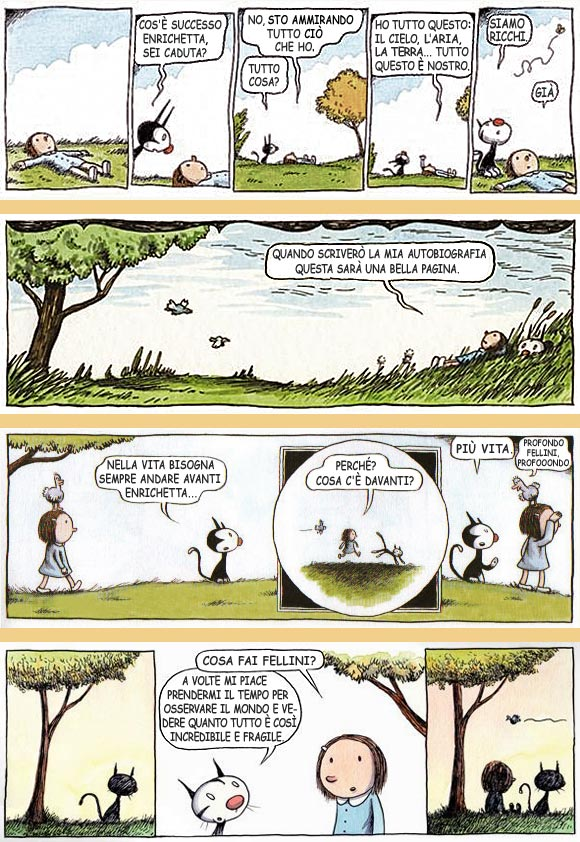 Strisce di Enriqueta e Fellini, di Liniers