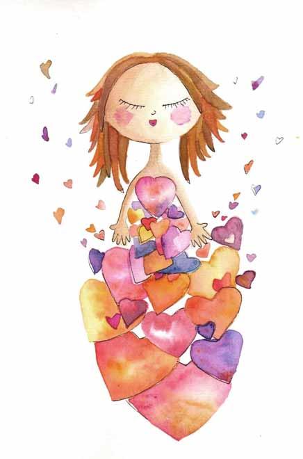 Ilustração de uma menina cercada de cercada de corações (Autor: Analía Testone)