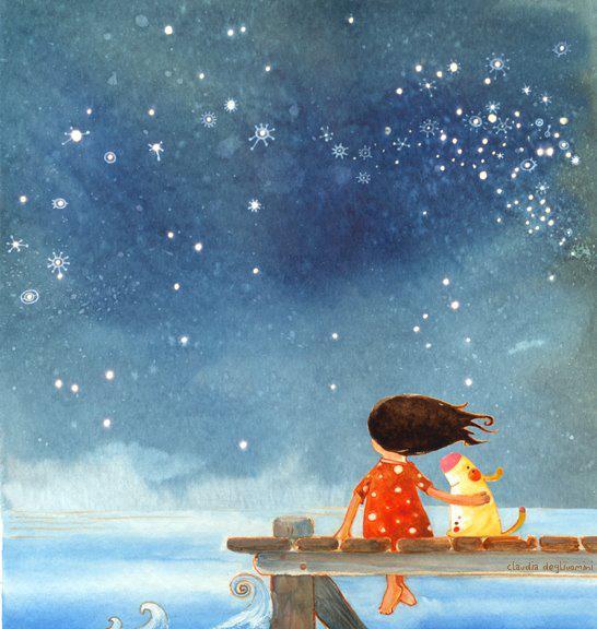 Ilustrazione di Claudia Degliuomini (una bambina e il suo cane ammirando il cielo notturno).