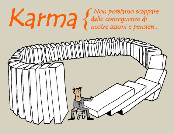 Caricatura che rappresenta il karma, causa ed effetto.