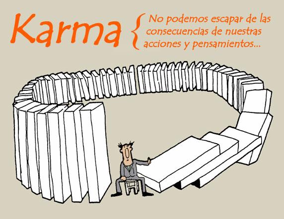 Caricatura que representa el karma, causa y efecto.