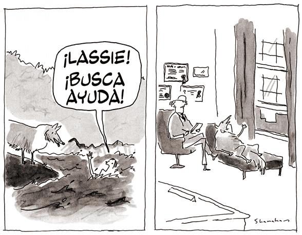 ¡Lassie! ¡Busca ayuda! Caricatura de Danny Shanahan