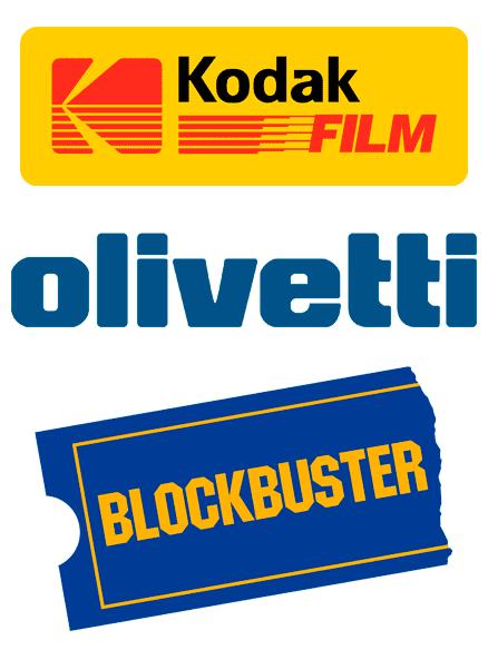 Logos de Kodak, Olivetti y Blockbuster