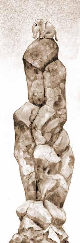 Dibujo de un elefante sobre una roca muy alta (Título: Looking for the Herd, Autor: Ursula Vernon)