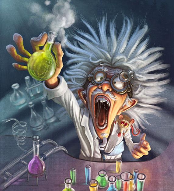 Un científico loco celebrando un descubrimiento (Autor: Tiago Hoisel)