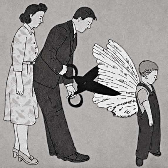 Os pais cortando as asas do seu filho