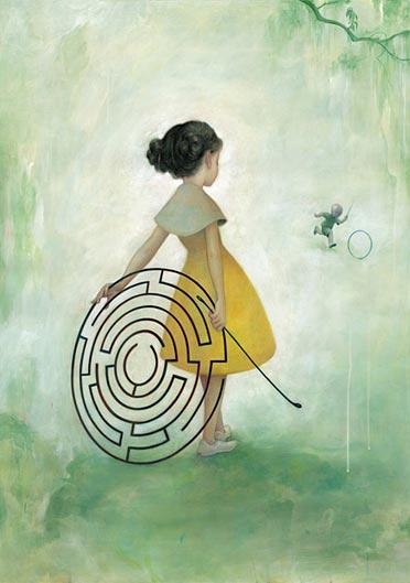 Dessin d'une fillette et d'un labyrinthe (Titre: Maze, Autor: James Jean)