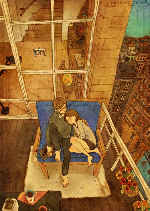 Nap (Siesta), ilustración de la artista coreana Puuung