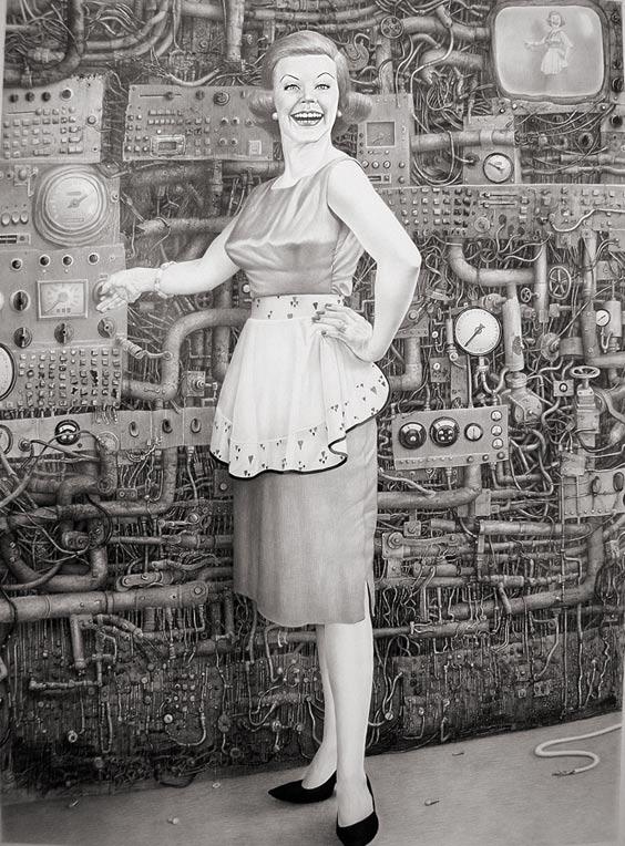 Ilustración de una mujer un poco loca (Título: On / Autora: Laurie Lipton)