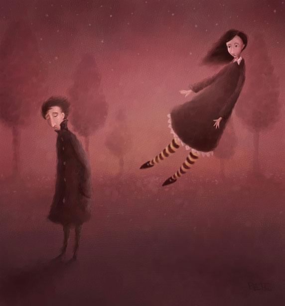 Ilustración de un hombre y una mujer distanciados, alejándose (Título: Once Upon an Autumn Night, Autor: Pete Revonkorpi)