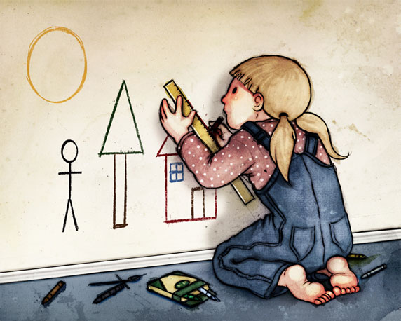 Una bambina perfezionista disegnando sulla parete.