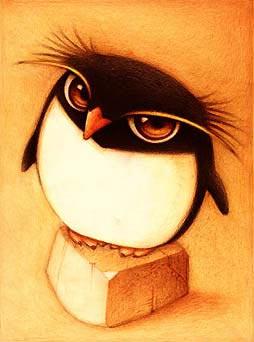 Dibujo de un pingüino de mirada intimidante