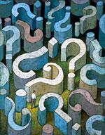 Imagen de una persona rodeada de signos de interrogación