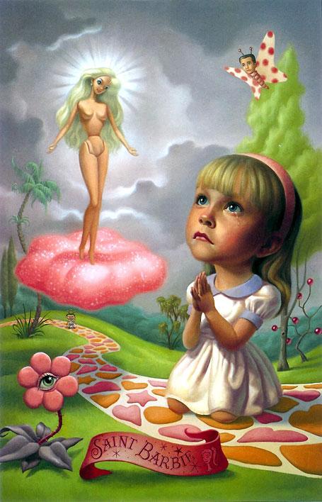 Una niña triste, rezando frente a una muñeca Barbie (Título: Saint Barbie, Autor: Mark Ryden)