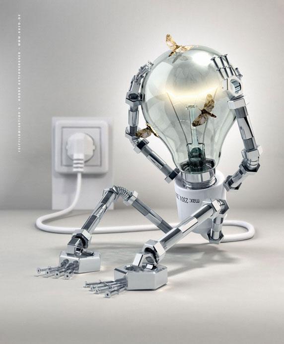 Ilustración en 3D de una lámpara eléctrica (Título:Selfillumination 2; Autor: André Kutscherauer