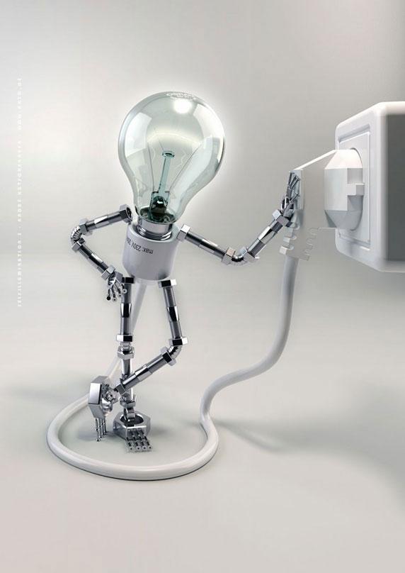 Ilustración en 3D de una lámpara eléctrica (Título:Selfillumination 3; Autor: André Kutscherauer