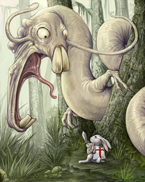 Dessin d'un petit lapin affrontant un monstre (Titre: 'Sir Bunny Vs The Wockwurm', Auteur: 'Ursula Vernon')
