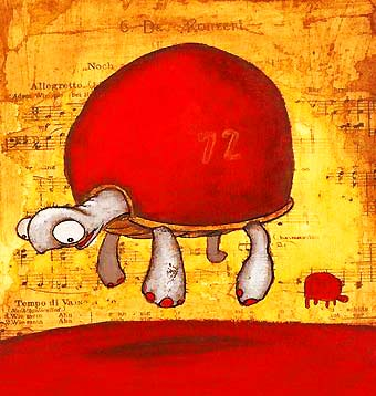 Dibujo de una tortuga levitando (Título: Slow floaters, Autor: Johan Potma)