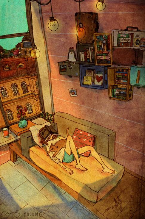 Sometimes (A veces), ilustración de la artista coreana Puuung