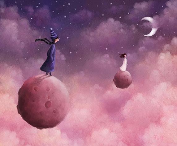 Ilustración de un hombre y una mujer distanciados, en mundos diferentes (Título: Together, Autor: Pete Revonkorpi)
