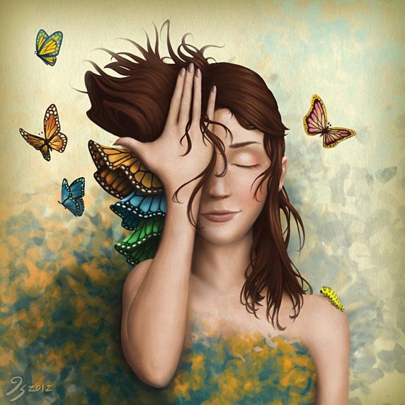 Una mujer transformándose, como las mariposas (Transition, by Kirk Shannon)